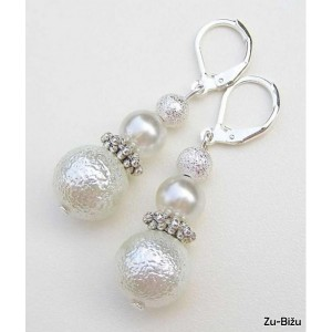 Svadobné náušnice Biele perličky